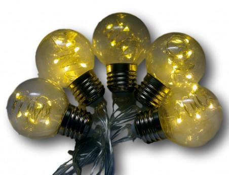Lampki ogrodowe LED, 6 diod w każdej żarówce. Girlanda ogrodowa LED