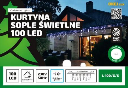 Sople LED wewnętrzne biały kabel / 100LED