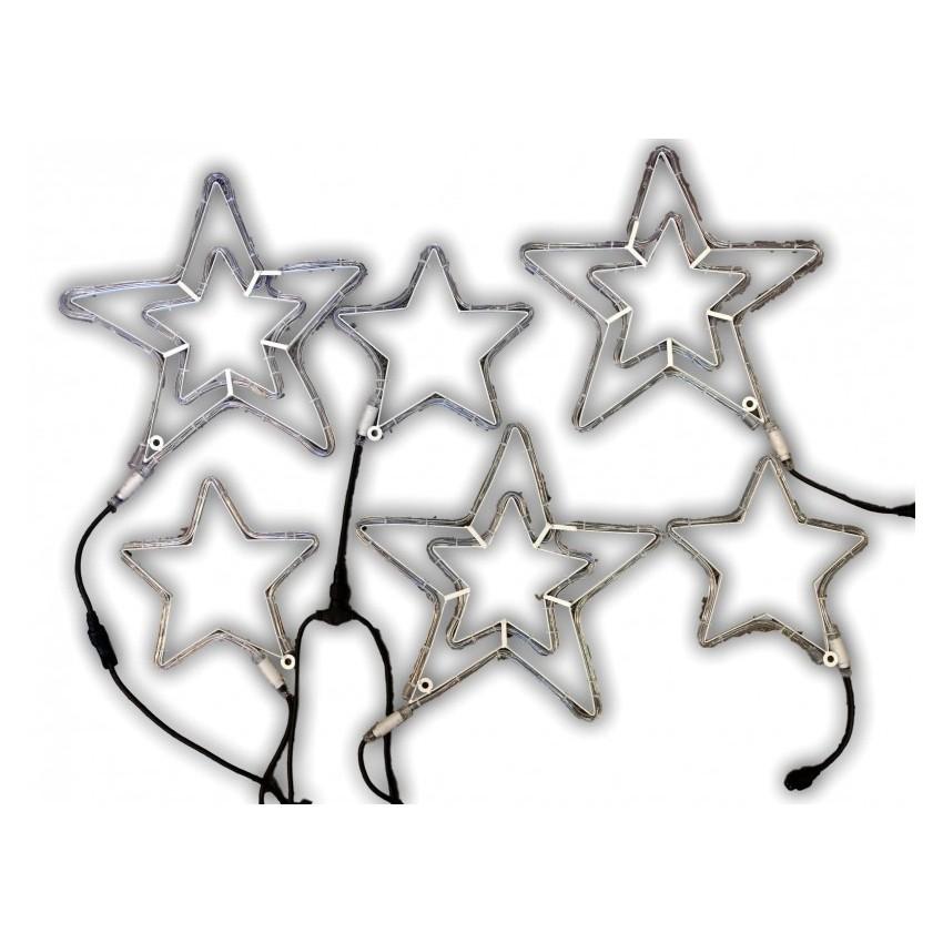6 gwiazd z węża LED z efektem błysku. 3 gwiazdy podwójne 45cm + 3 gwiazdy 30cm